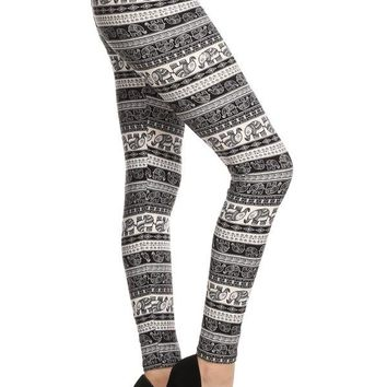 Women's Elephant Leggings Elephants and Stripes Black/White: OS/PLUS