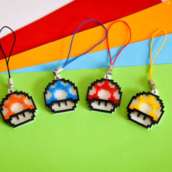 Pixel 1UP Mario Bros Cell Phone Charm - Super Mario Live Mushroom phone charm - Laser cut Acrylic