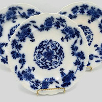 Antique Flow Blue Porcelain Plates Set Of Three John M Maddock & Sons England Royal Viterous Miessen Mark