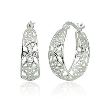 LOVVE Sterling Silver Filigree Celtic Knot Polished Round ClickTop Hoop Earrings