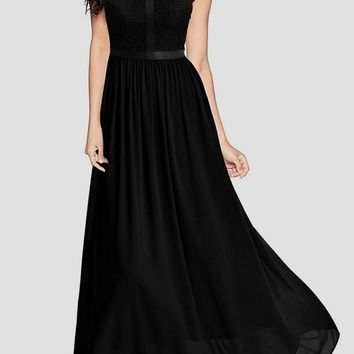 New Black Patchwork Lace Zipper Draped Elegant Cocktail Party Chiffon Maxi Dress