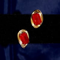 Vintage Coro Earrings w/ Large Red Marquis Cut Glass Stones on Gold Tone 1920-40s