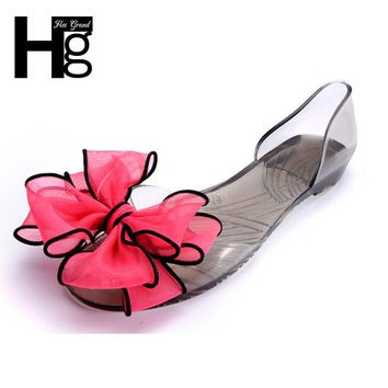 HEE GRAND Sweet Jelly Summer Women's Sandals Peep Toe Big Ribbon Bowtie Knot Transpare