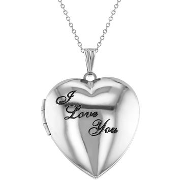 "Remembrance ""I Love You"" Photo Heart Locket Necklace Pendant 19"""