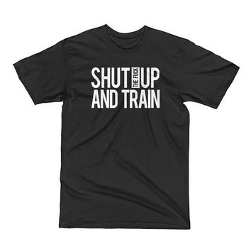 Shut up and train, Mens Workout shirt, Mens gym shirt, Gym tshirt, Muscle Tee, Mens Fitness tshirt, Bodybuilding shirt, Fitness motivation,