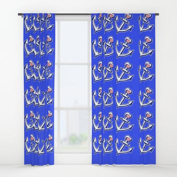 Navy Blue Heart Anchors Pattern Window Curtains by Artist Abigail