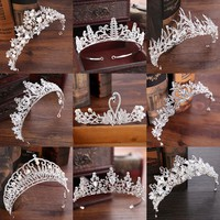 Diverse Silver Crystal Bride Tiara Crown Fashion Pearl Queen Cosplay