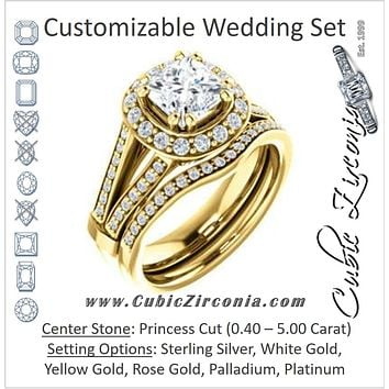 CZ Wedding Set, featuring The Shaundra engagement ring (Customizable Princess Cut with Halo, Cathedral Prong Accents & Split-Pavé Band)