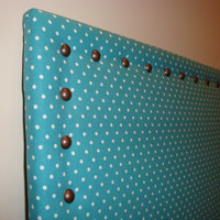 Large Teal Blue, Turquoise Blue Fabric Bulletin Board, 18x22 Cork Bulletin Board, Polka Dot, Kitchen Board, Jewelry Pin Board
