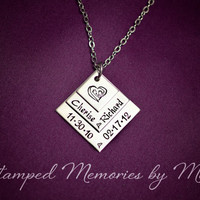 Footprints on my Heart - Mommy Necklace - Mother's Jewelry - Three Layer Stainless Steel Pendant - Personalized Mom or Grandma Necklace