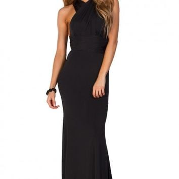 Rose Black Backless Multiway Crisscross Wrap Halter Maxi Gown