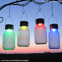 2 Color Glo Solar Jar Orbs Rotating Color Changing Frosted Mason Jar Solar Outdoor Garden Accent Lights
