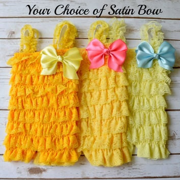 Yellow Romper, Cake Smash Outfit Girl, Baby Girl 1st Birthday Outfit,Lace Romper,Newborn Romper,Baby Romper, Toddler Romper, Satin Bow