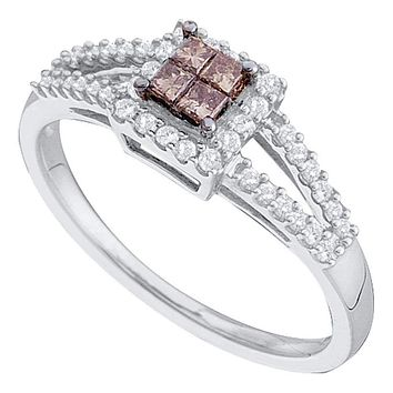 14kt White Gold Women's Princess Cognac-brown Color Enhanced Diamond Split-shank Cluster Ring 1/3 Cttw - FREE Shipping (US/CAN)