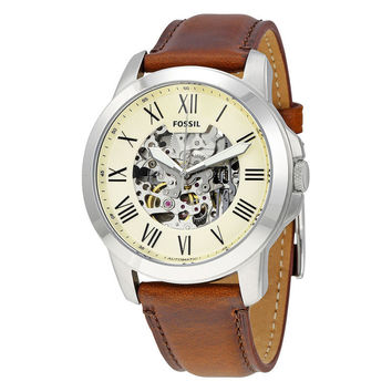 Fossil Grant Automatic Skeleton Dial Brown Leather Mens Watch
