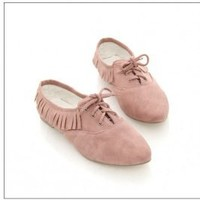 Wholesale Plus Size Fringe Lace-up Shoes Pink