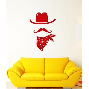 Vinyl Wall Decal Cowboy Costume Hat Mustache Stickers (3574ig)