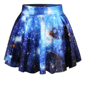 Blue 3D Space Galaxy Print Mini Skater Skirt