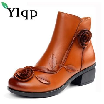 Ylqp New Women Genuine Leather Boots Handmade Retro National Wind Flower Winter Warm S