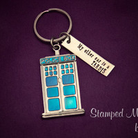 My Other Car is a TARDIS - Dr. Who Fan - Hand Stamped Key Chain - Companion - Time Traveler Gift - The Doctor - Geekery Keychain