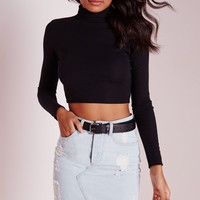 Missguided - High Neck Ribbed Crop Top Black