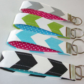 Key FOB / KeyChain / Wristlet  - Black Chevron with turquoise white polka dots