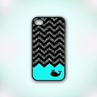 Black Chevron Glitter Whale Mind - Design Print for iPhone 4/4s Case or iPhone 5 Case - Black or White