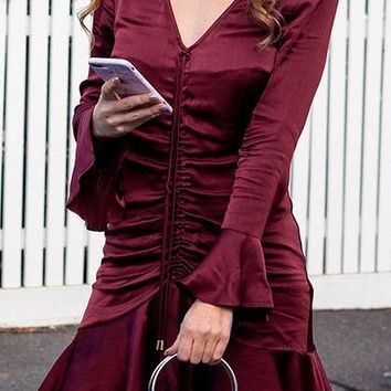 Burgundy Satin Look V-neck Flare Sleeve Chic Women Mini Dress