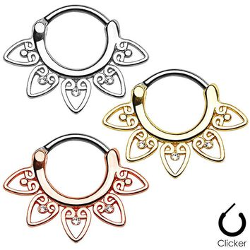 1 Piece Tribal Fan Titanium Shaft Real Piercing Septo Septum Clicker Nose Ring Jewerly  Silver Gold Rose Gold Body Jewelry
