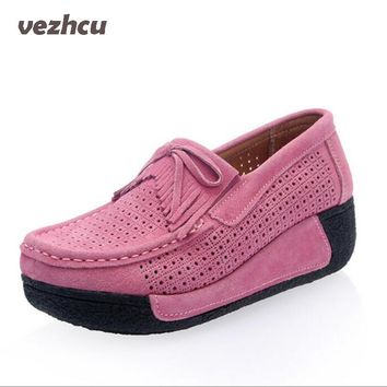 Flats Women Shoes Summer Moccasin Platform Shoes Cow Suede Casual Slip On hollow out Loafers Women Casual Shoes cd33