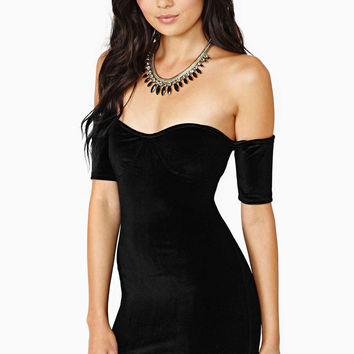 Black Off Shoulder Bodycon Mini Dress