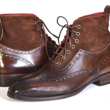 Paul Parkman Men's Wingtip Boots Brown Suede & Calfskin