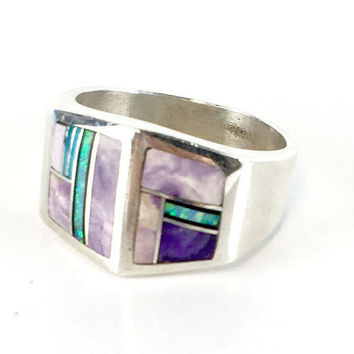 Vintage Opal & Sugilite Ring Sterling Silver Purple Gemstone Inlay Ring Unisex Ring Estate Jewelry 1970s Native American Ring Size 8.5