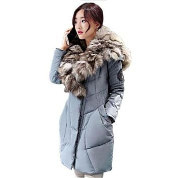 Winter Women Jacket Coats New 2017 Luxurious Large Real Fox Fur Down Coat 90% White Duck Down Jacket Parkas Winter Down Outwear