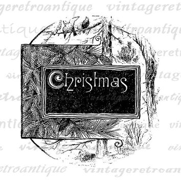 Printable Digital Christmas Text with Pine Graphic Image Download Vintage Clip Art Jpg Png Eps  HQ 300dpi No.2311
