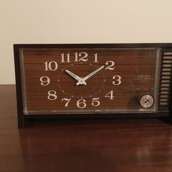 Vintage 1960s Seiko Corona Melodia 2 Jewels Musical Mantle Alarm Clock / Retro Clock / If You Love Me Musical Alarm