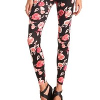 Cotton Floral Printed Leggings by Charlotte Russe - Coral