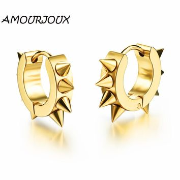 AMOURJOUX Punk Style Rivet Round Gold White Black Stainless Steel Male Stud Earrings for Men