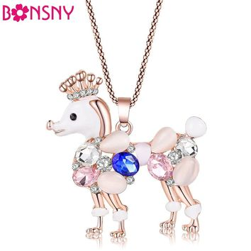 Bonsny Poodle dog necklace opal pendant animal cat eye crystal chain new 2016 zinc alloy girl women fashion jewelry accessories