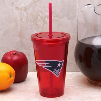 New England Patriots Sip 'N Go 16oz. Color Tumbler with Lid and Straw - Red