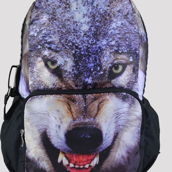 Wolf Print Large Backpack