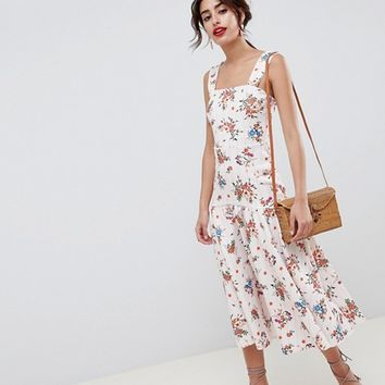 ASOS DESIGN drop waist floral prom midi dress at asos.com