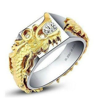 Men's Solid 18k Gold Dragon Face Ring .25CT Moissanite Diamond