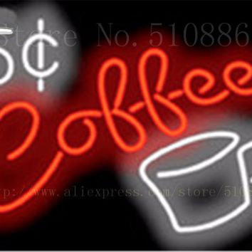 "5 Cent Coffee Glass Tube neon sign Handcrafted Light Bar Beer Club Custom signs Shop Store Business Signboard signage 17""x14"""