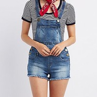 MEDIUM WASH CUTOFF OVERALLS
