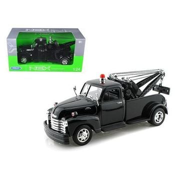 1953 Chevrolet 3800 Tow Truck Plain Black 1/24 Diecast Model by Welly