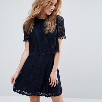 ASOS Skater Dress in Lace with Crop Top Layer at asos.com