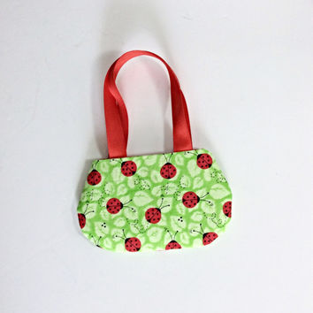 Green Ladybug Purse, Doll Purse, Ladybug Doll Purse for 18 Inch Dolls such as American Girl Dolls