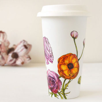 White Ceramic Eco Cup - Ranunculus, Botanical Collection - made to order