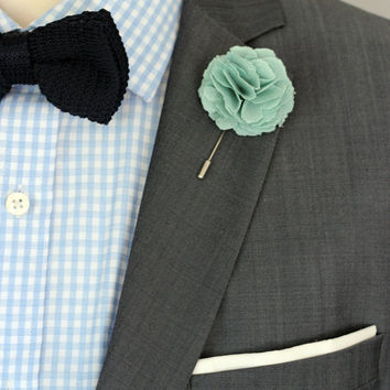 BIG Mint green Linen Carnation, Harrison Ford style, mens boutonniere, groomsmen lapel pin, mens lapel flower